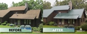 Before & After photo. Brown log home with shingle roof on left, brown log home with metal roof with QE standing seam in Evergreen color