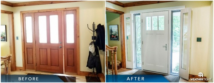 Before & after of new entry door