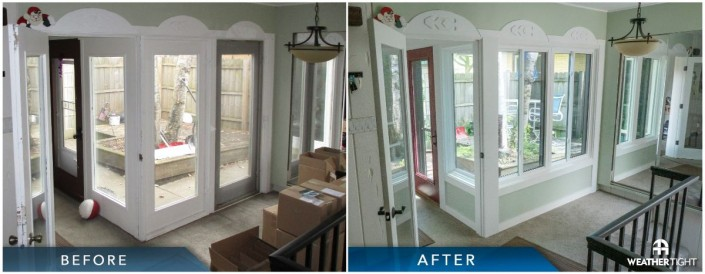 Before & after of new entry door and new window